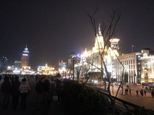 View of Wall street at night