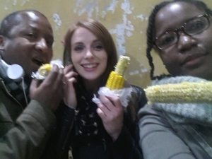 Eating sweet corn while the police are deciding whether to take us to the station or not